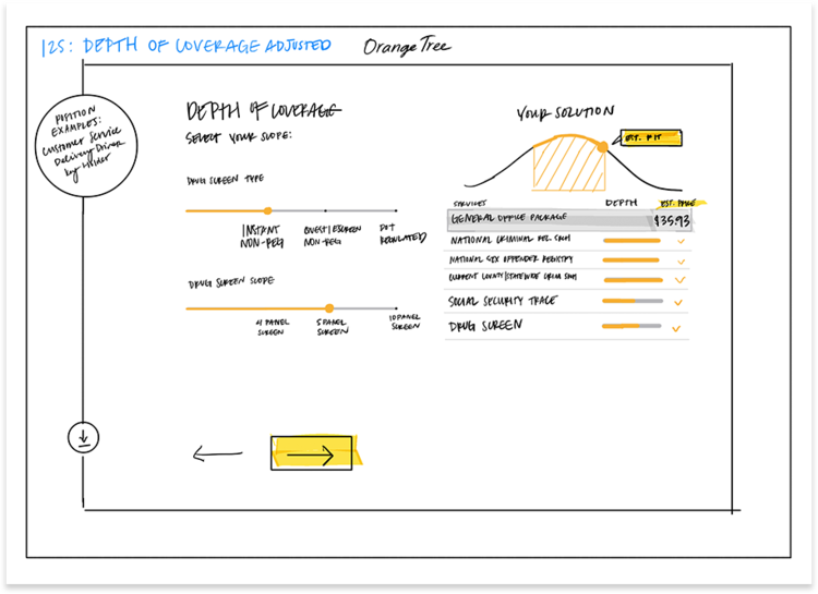 Early stage sketches implementing design patterns and establishing a visual language.