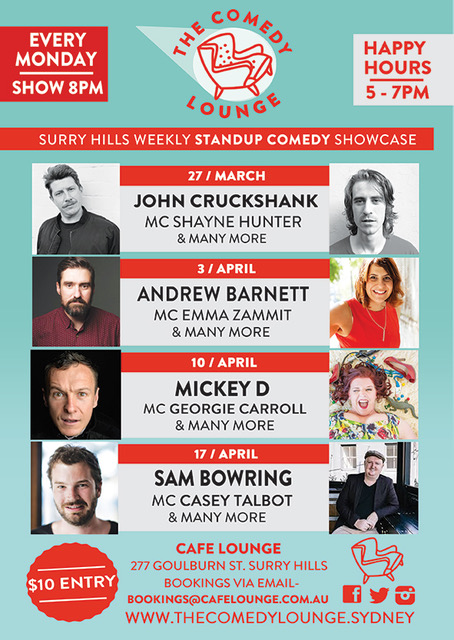 The Comedy Lounge March and April 2017