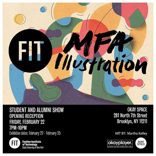 Next weekend! I will be showing a print of my new artwork at the annual #fitmfaillo show @okayspace gallery. Opening reception is Friday the 22nd and the show will be up all weekend. Hope to see you there! 💕
