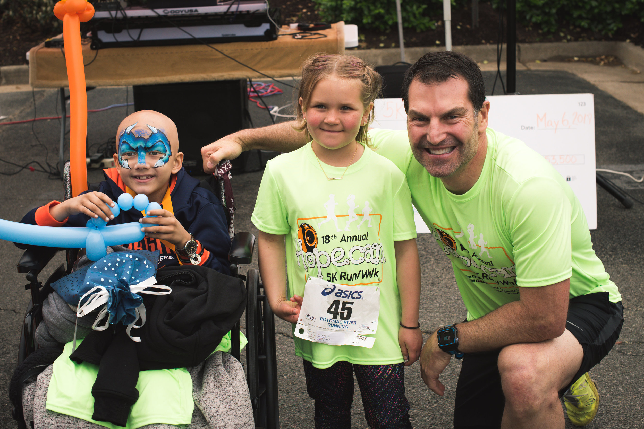 Len Forkas with our Hopecam 5K Honored Child 'Fletcher' and Hopecam Child 'Lily'