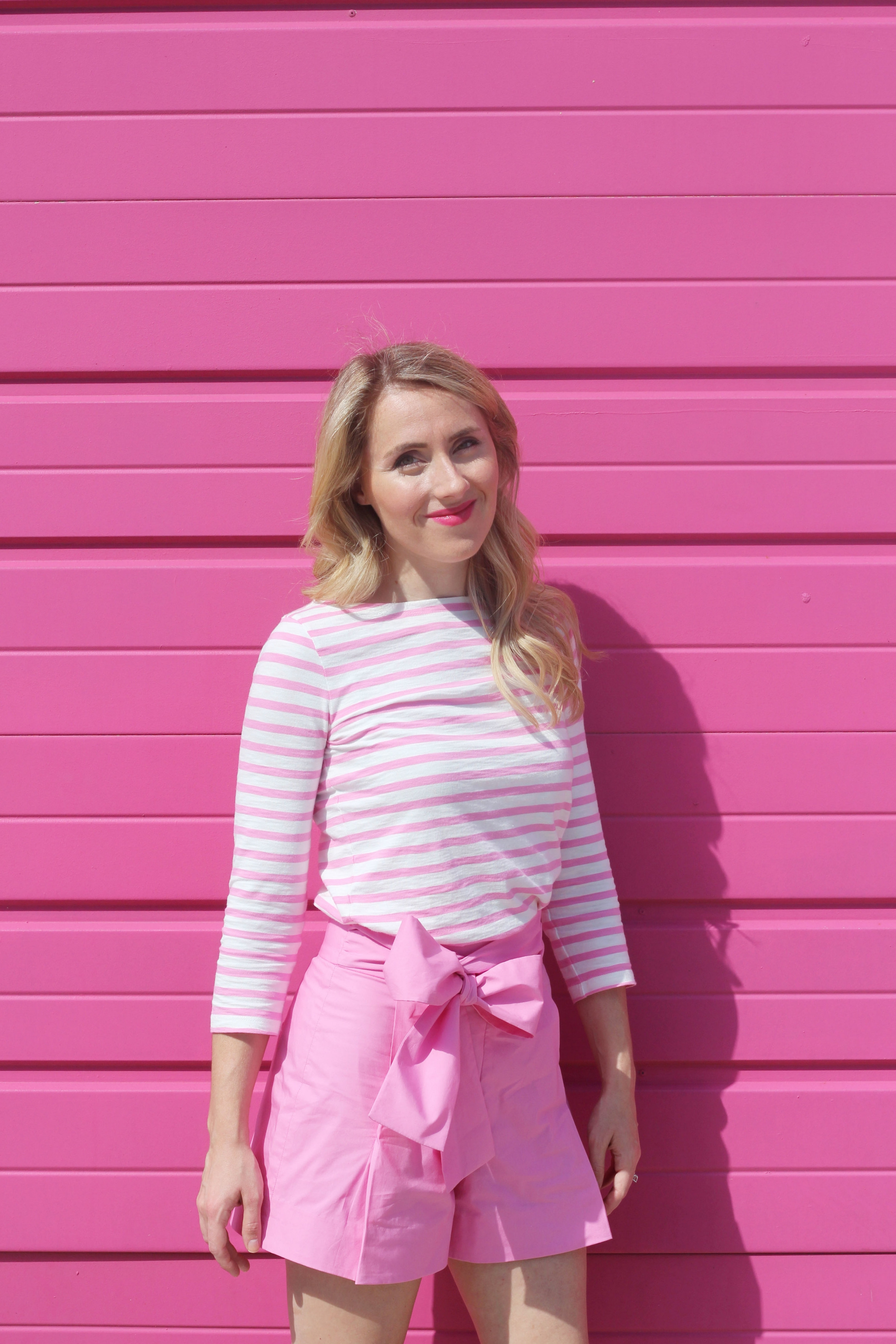 Pink Outift, J.Crew Stripes and Bow