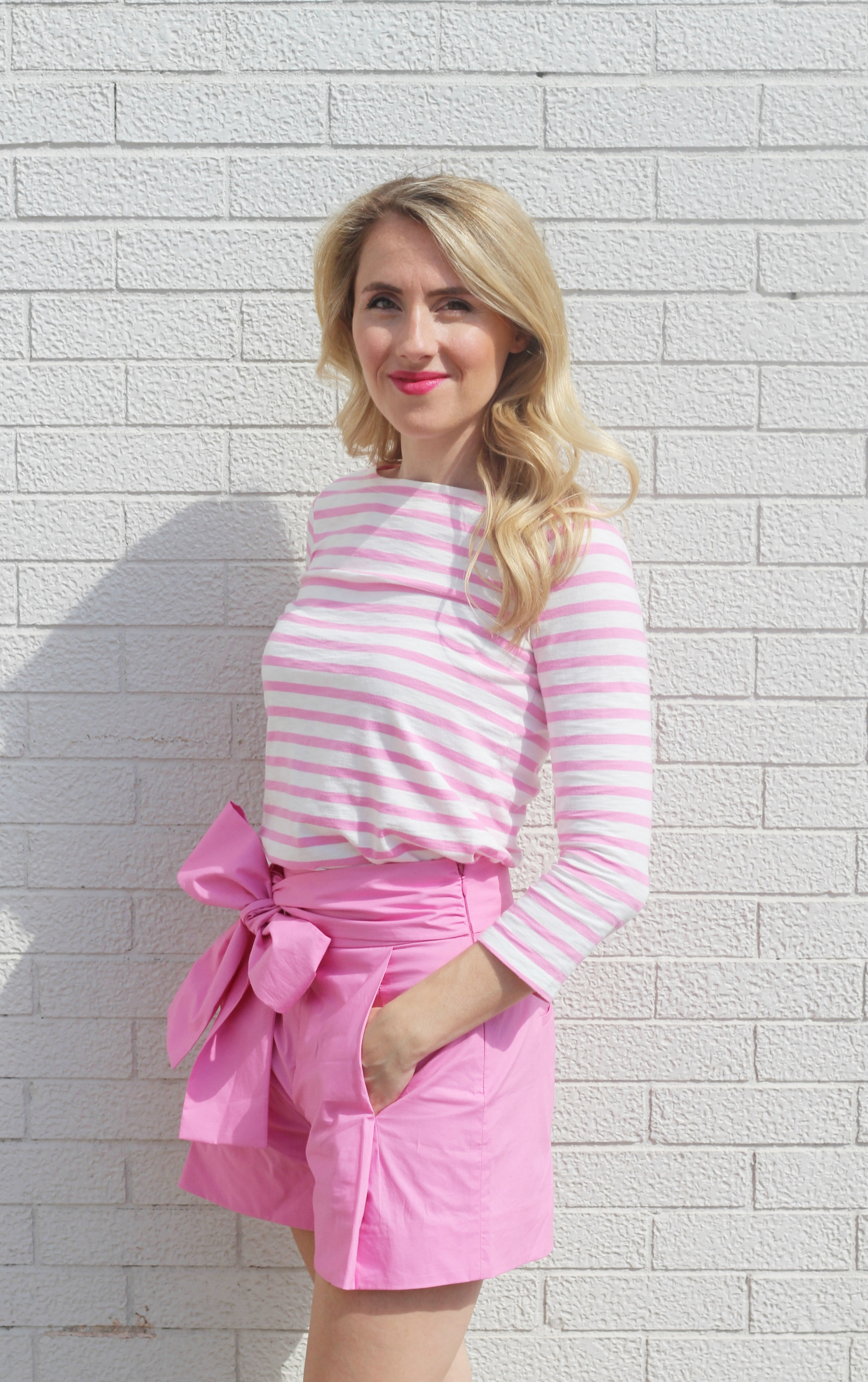 Summer Outfit, Pink bow shorts and striped shirt