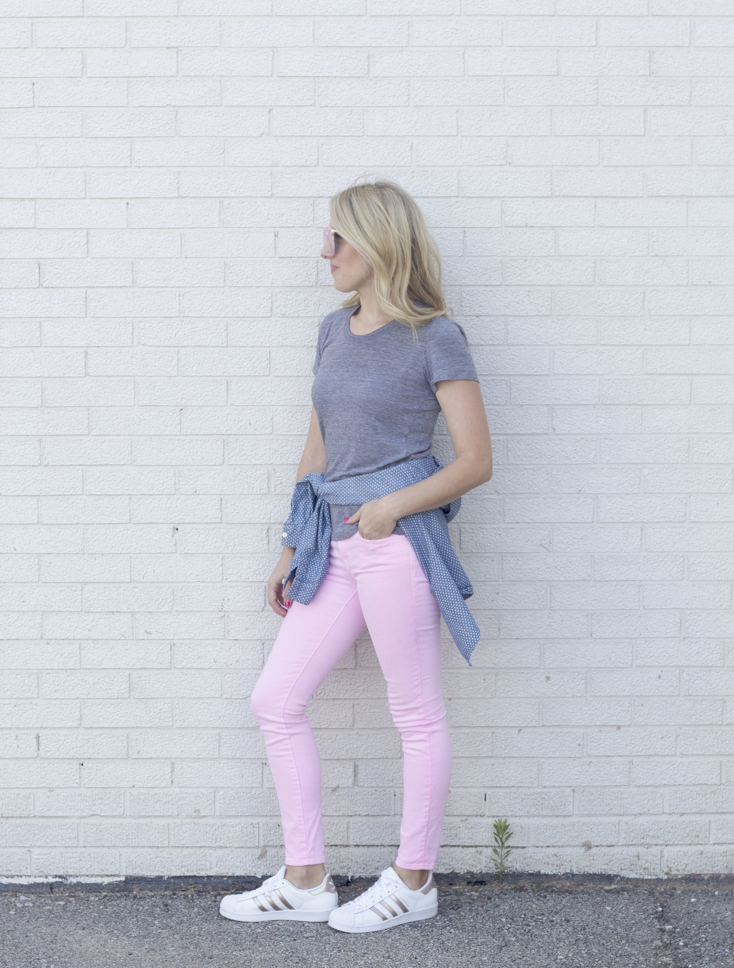 Sporty Pink Jeans and Adidas So Dressed Up