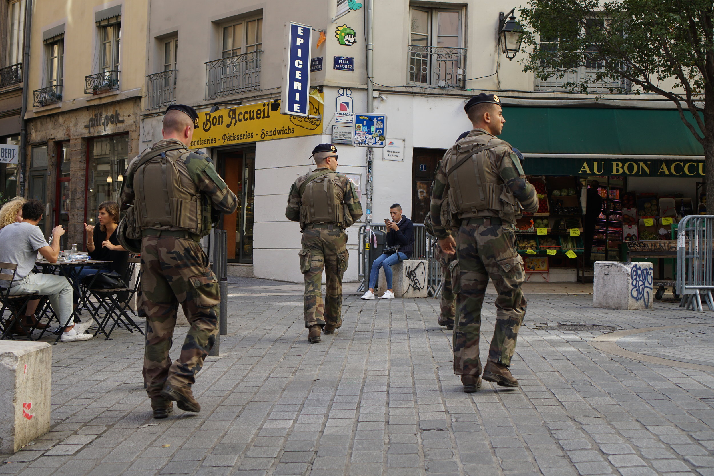 Military officers from Opération Sentinelle patrol the streets in the Croix-Rousse neighborhood of Lyon. Opération Sentinelle is an ongoing state of emergency operation in France due to continuing terror threats and attacks.