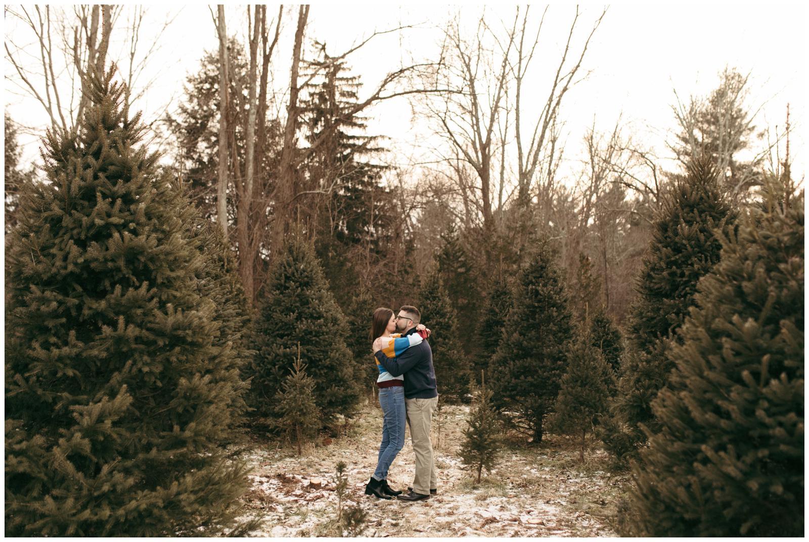 Tree farm engagement session