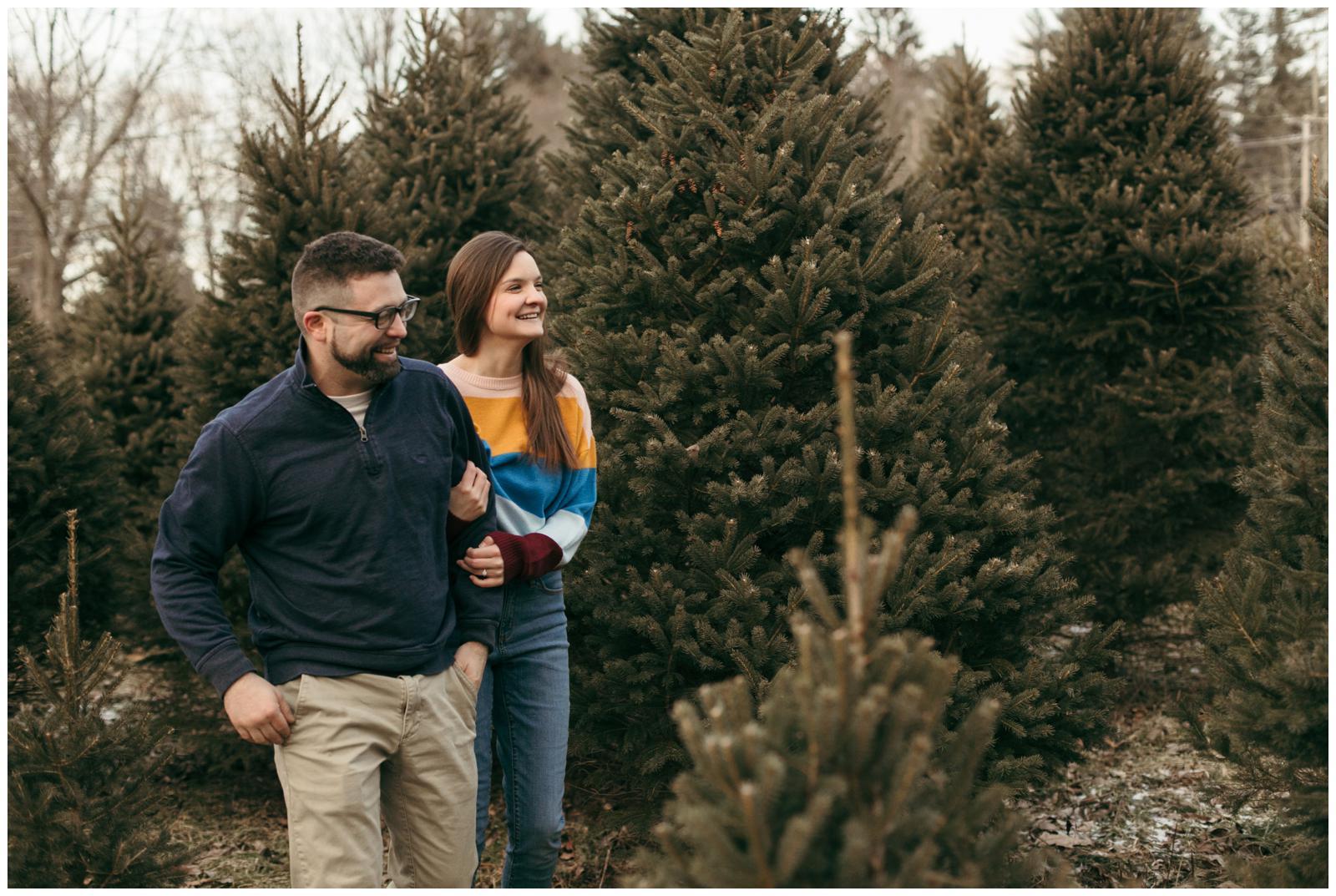 Connecticut xmas tree farm engagement