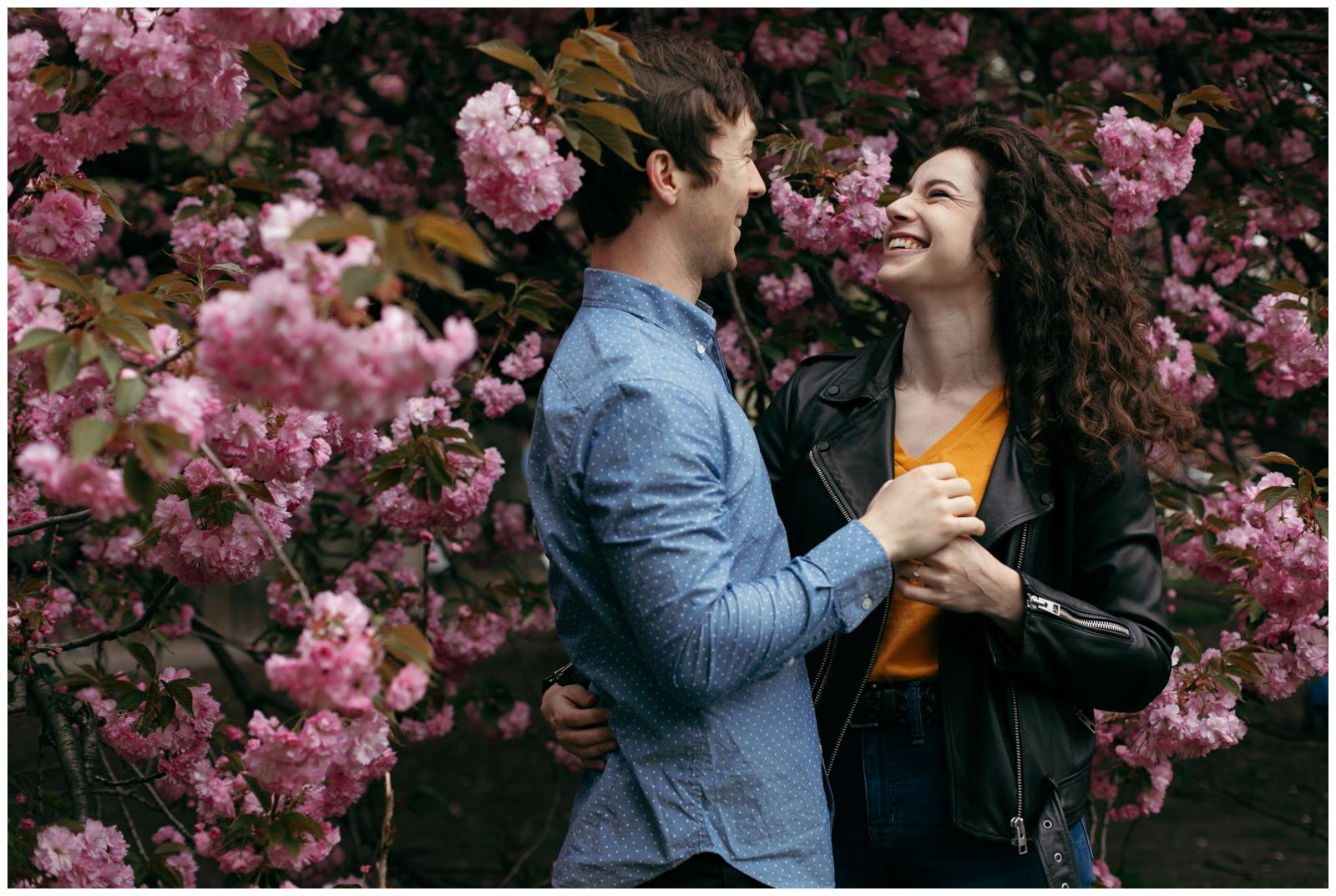 NYC engagement photos springtime