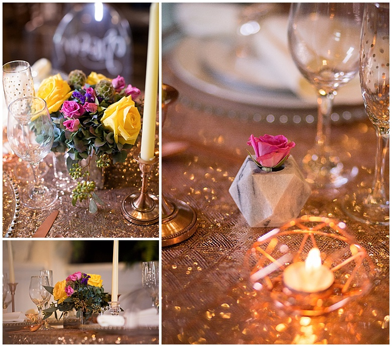 I also did a lot of geometric touches with the tiny marble vases and the rose gold geometric votives. They added a lot of unique touches!