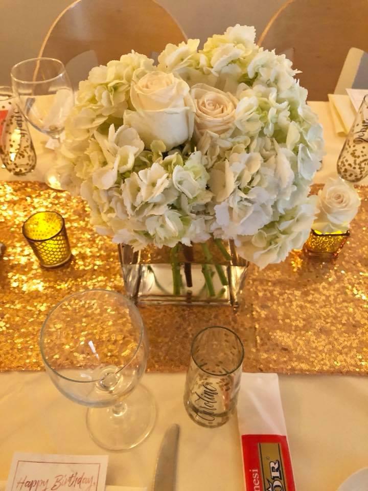 Modern Rose Gold Marble Birthday Party Flowers White Hydrangea Flower Arrangement