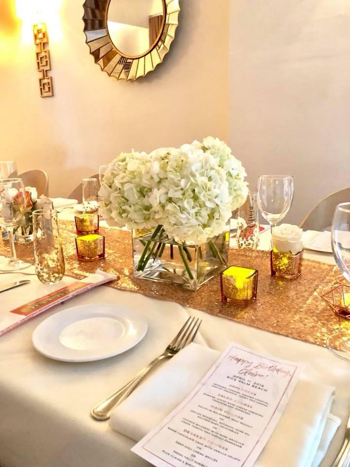 Modern Rose Gold Marble Birthday Party Flowers White Hydrangea Flower Arrangement Tablescape
