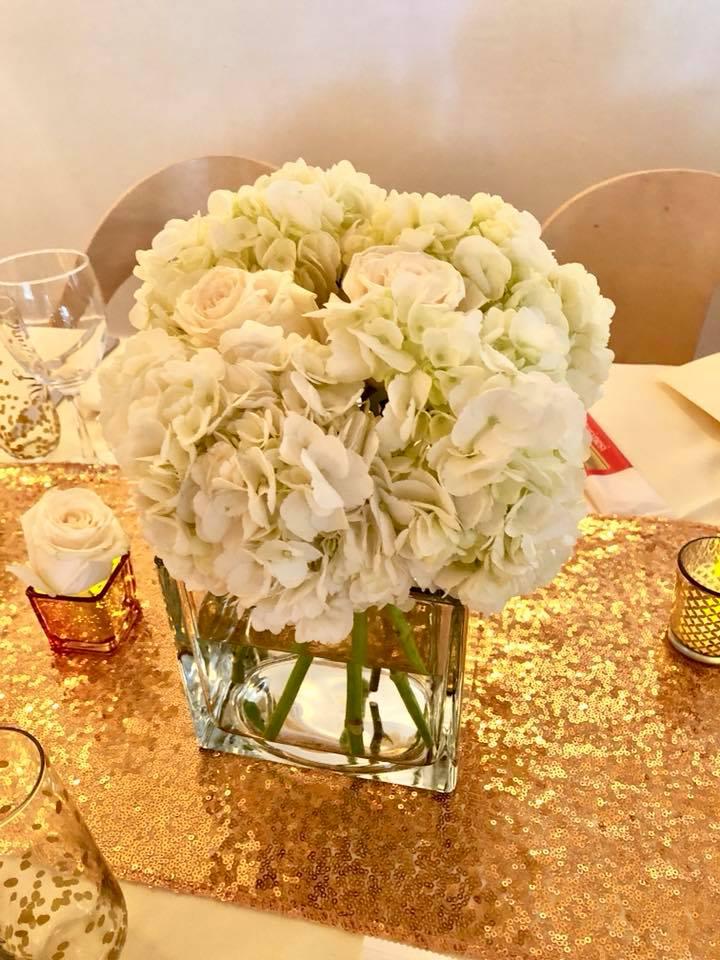 Modern Rose Gold Marble Birthday Party Flowers White Hydrangea Flower Arrangement 2