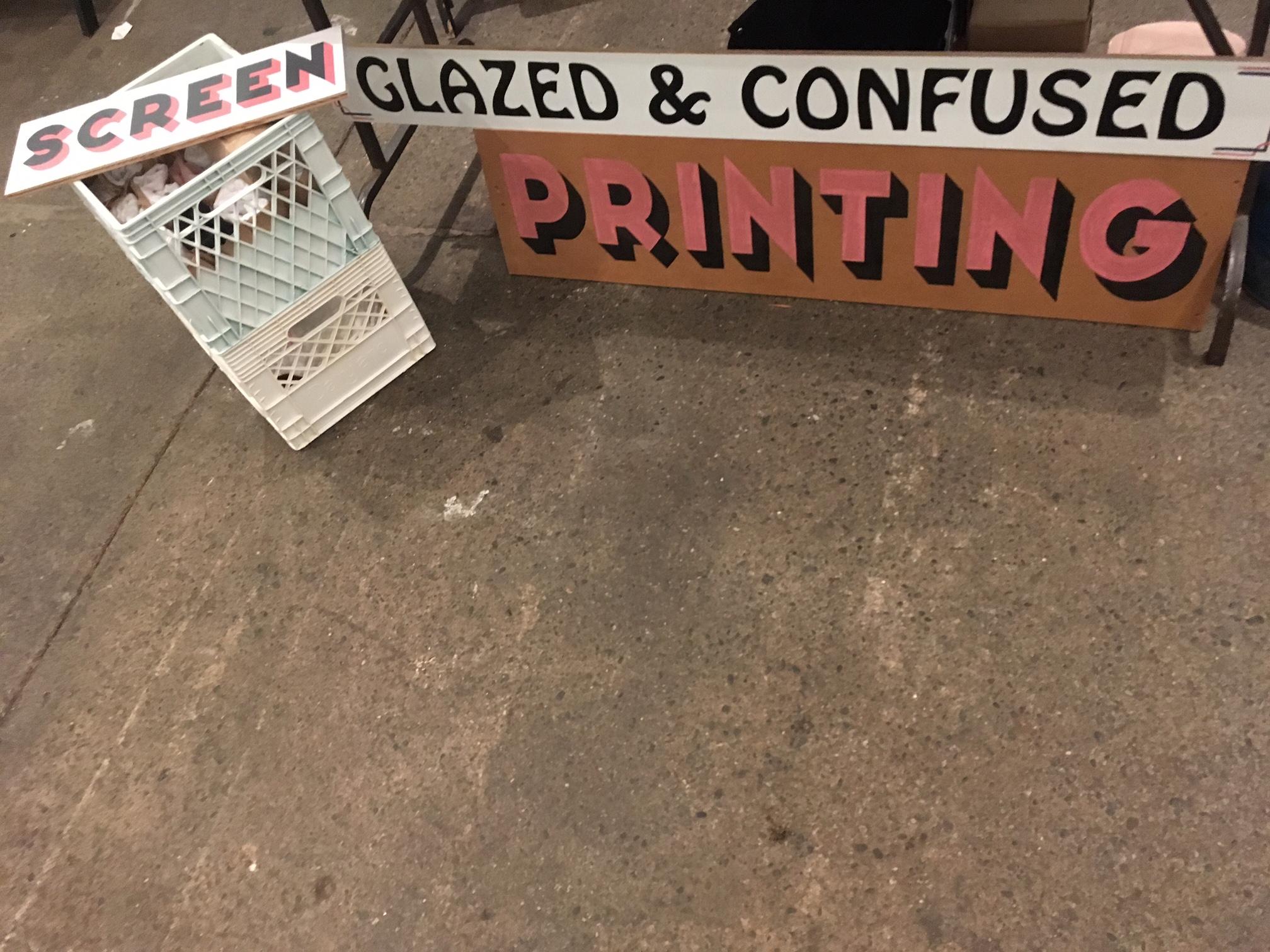 Glazed & confused market signage- not forsale