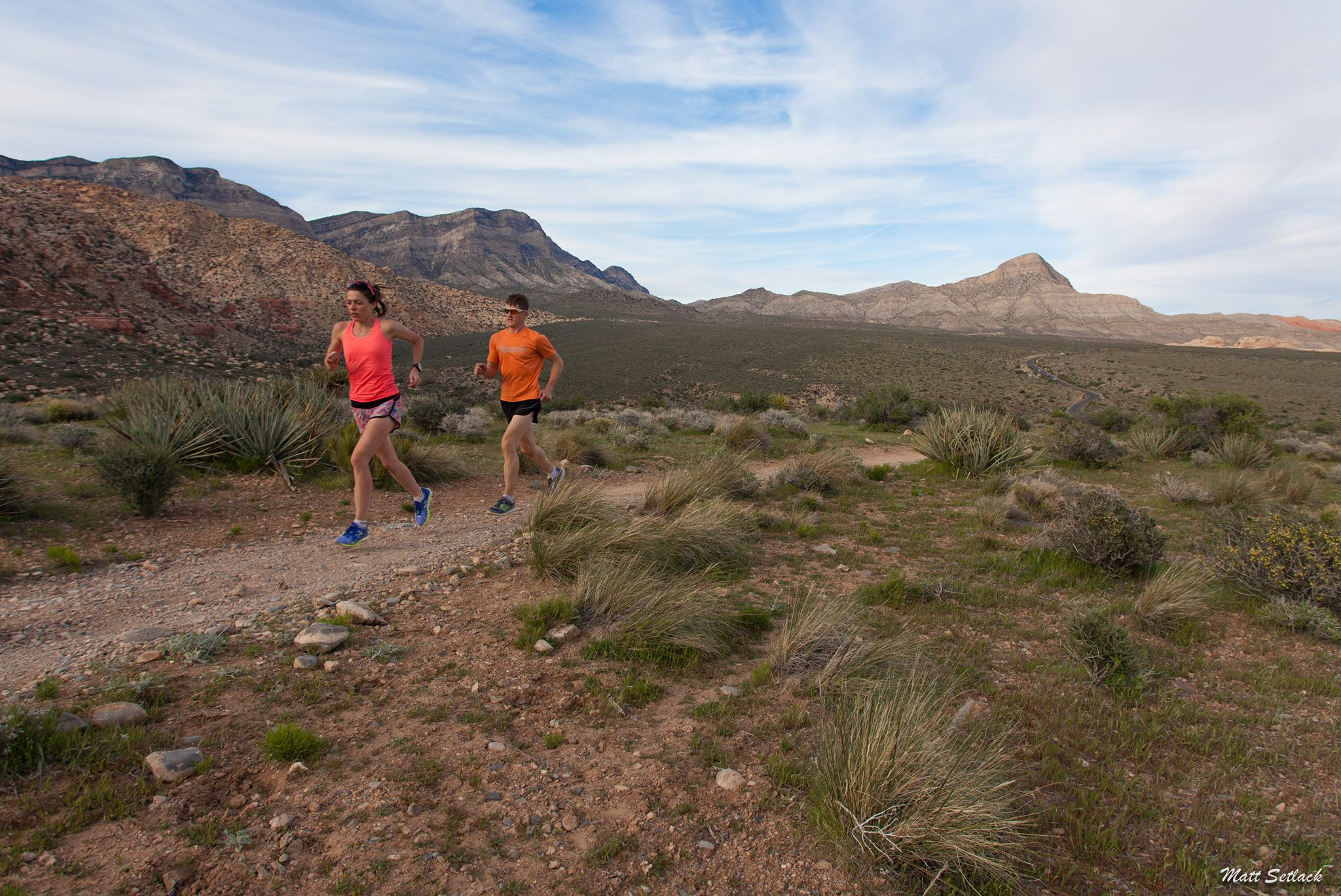 Emily and Matt trail running in the Red Rock National Conservation area in Nevada, USA.