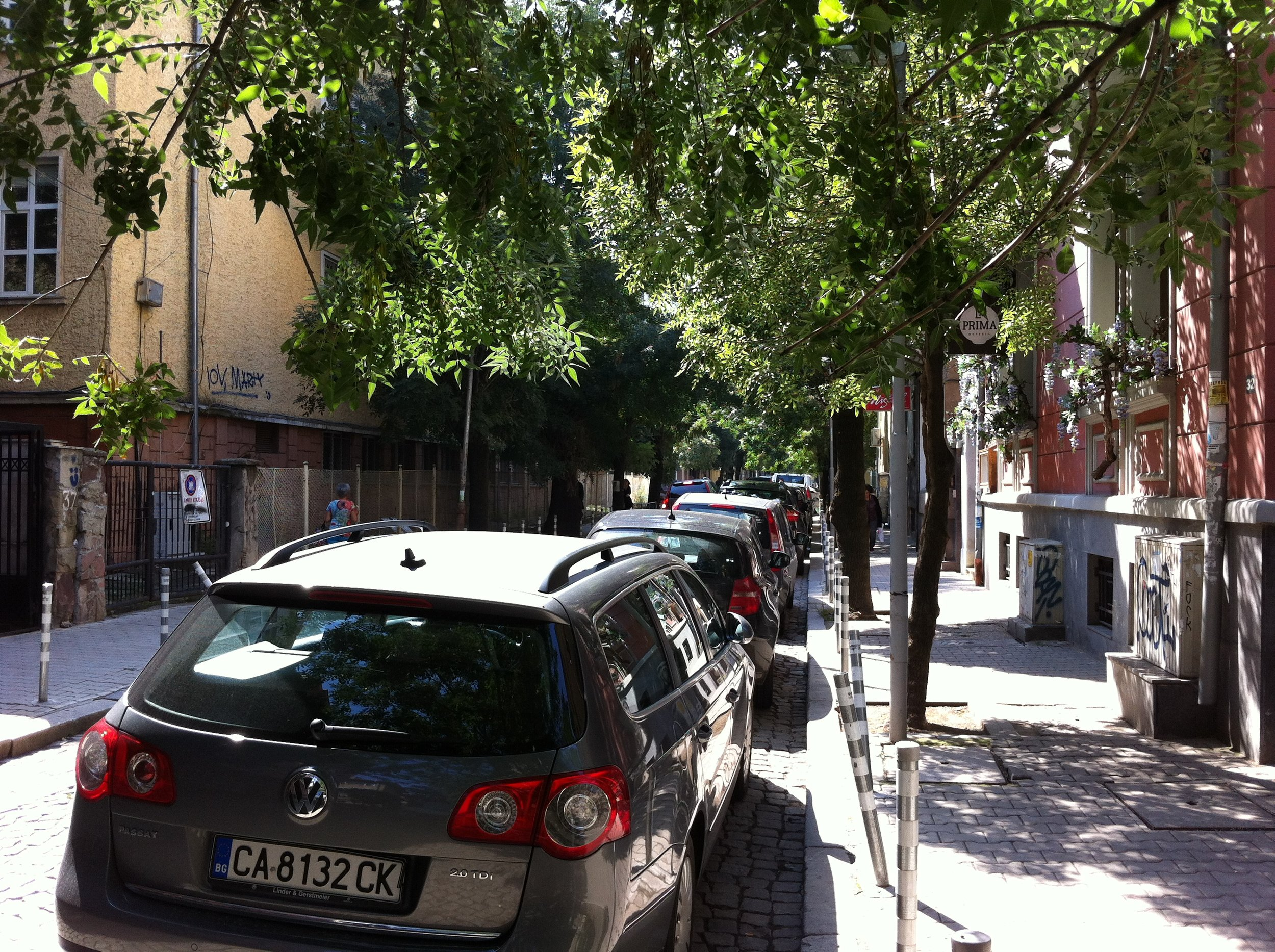 Typical narrow side street in downtown Sofia