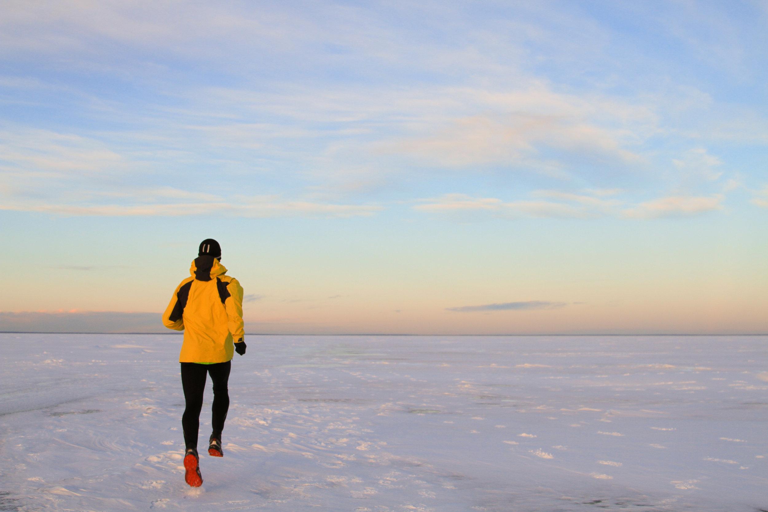 Matt running on Cold Lake during a dry run.