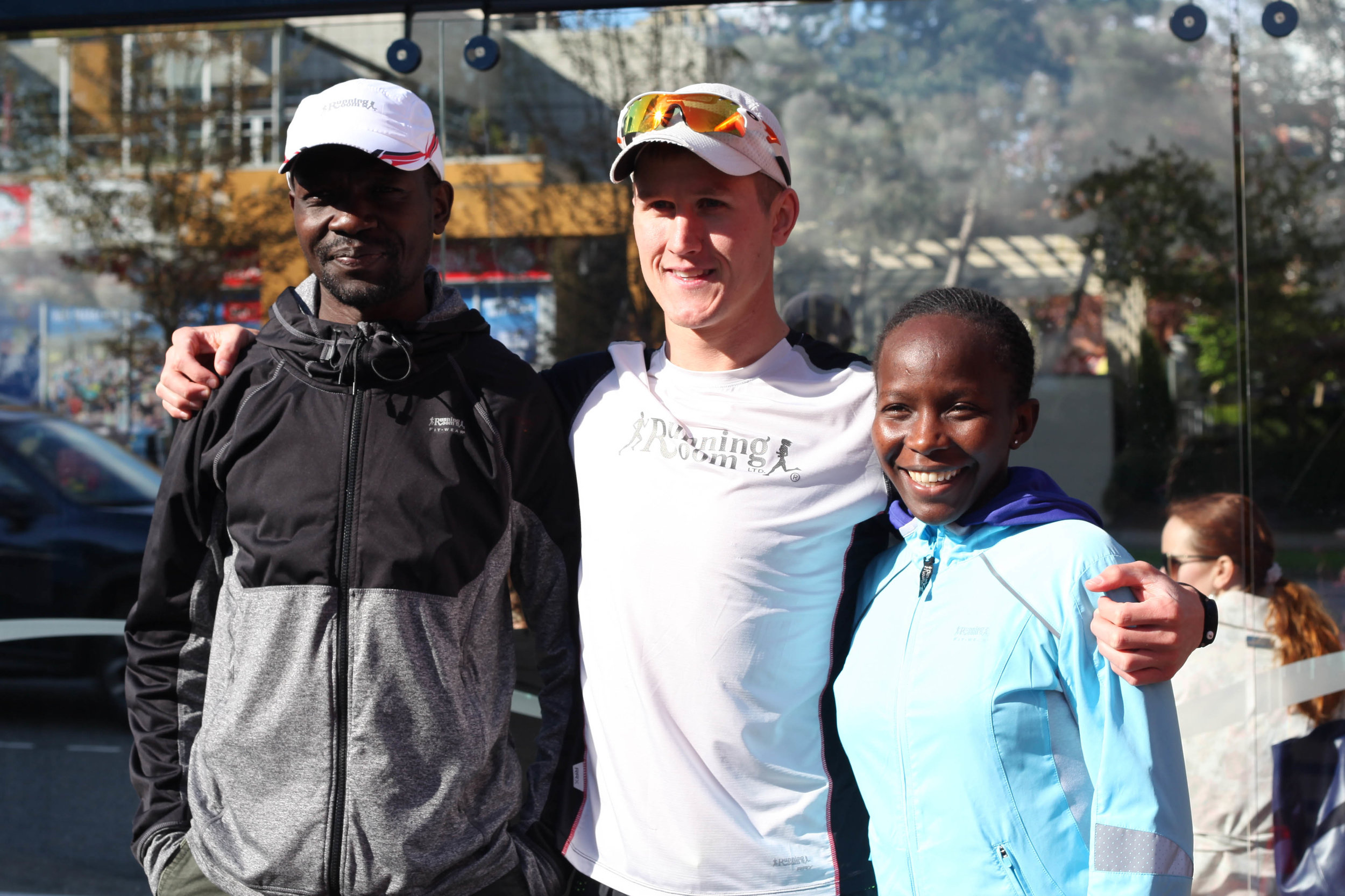 Running Room Athletes Daniel Kipkoech, Matt Setback and Jane Murage