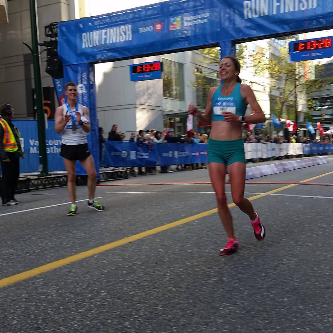 Emily at the finish (Photo by Mary Hinze)