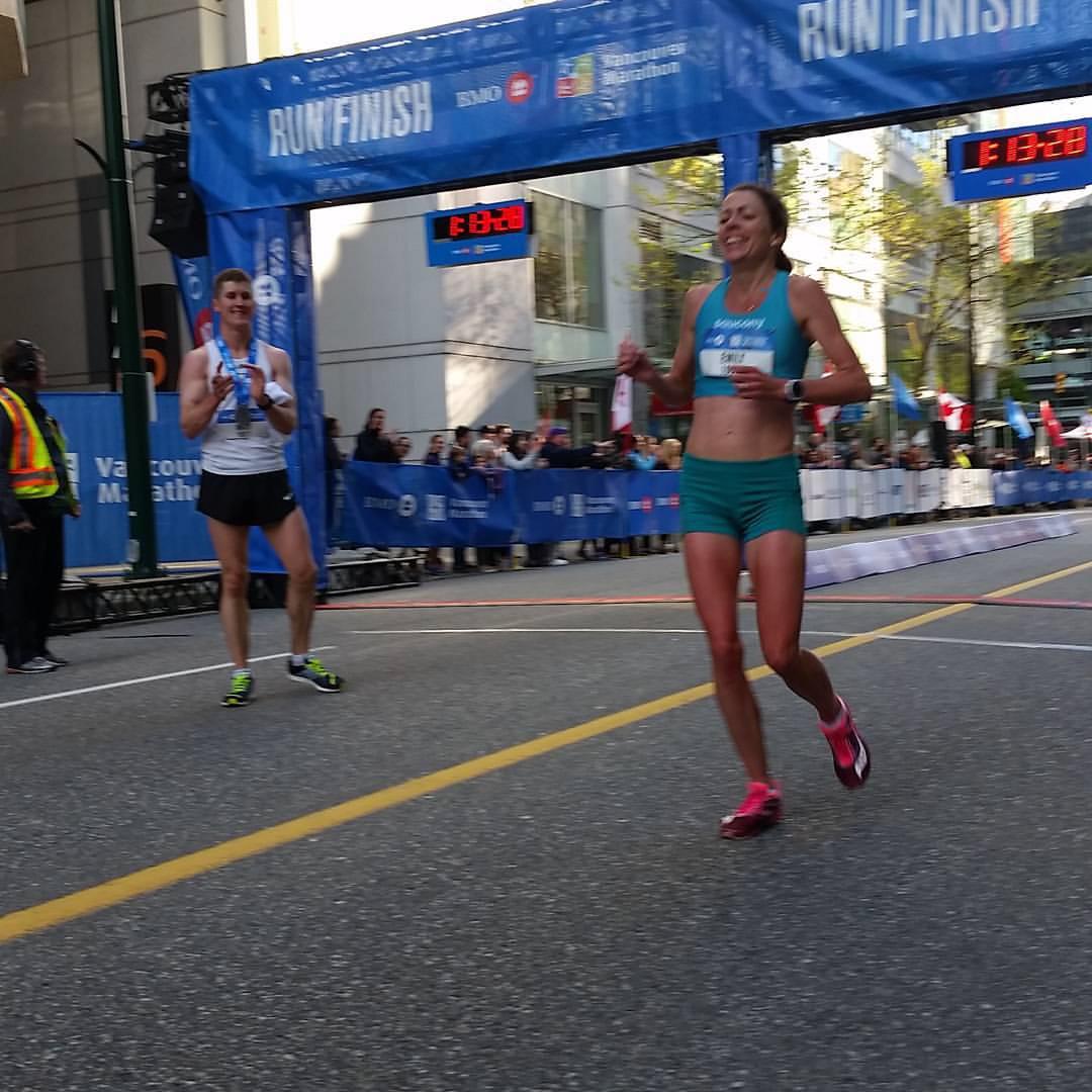 Emily at the finish (Photo by Mary Hinze)