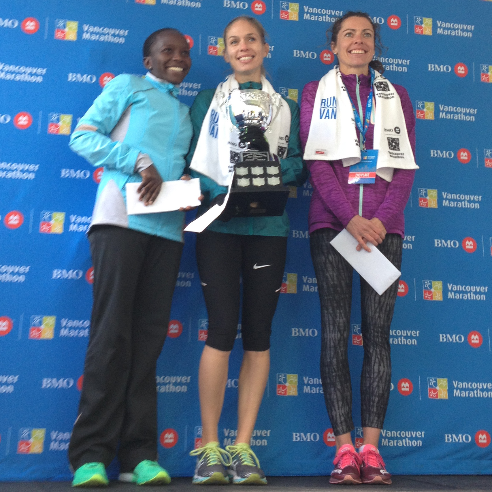 Jane Murage (3rd), Natasha Kodak (1st) and Emily Setlack (2nd)