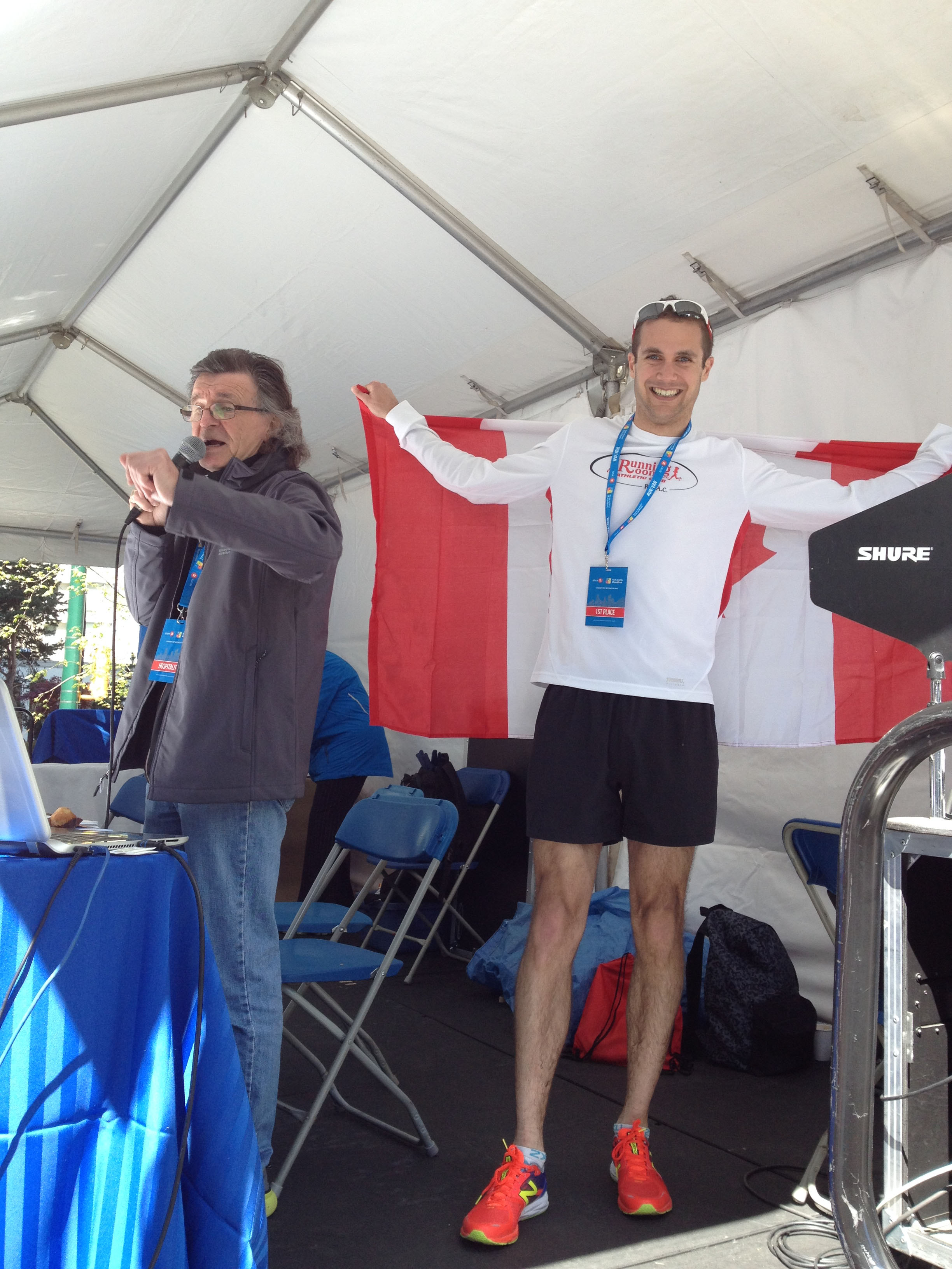 Announcer Steve King (L) and Mike Trites (R) - 1st Canadian in the BMO Vancouver Full Marathon