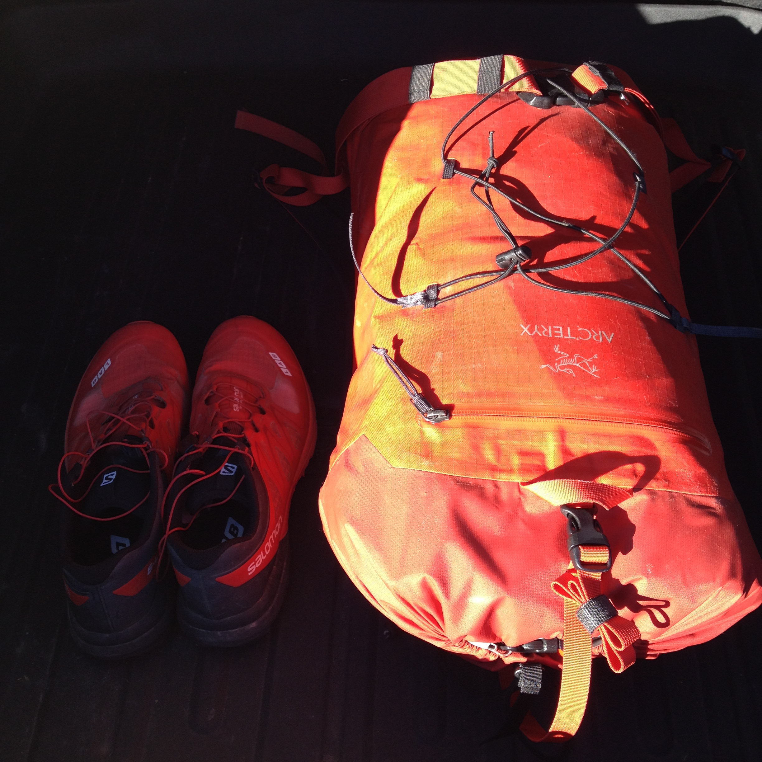 This is all I brought: Trail shoes and 30L carry-on backpack