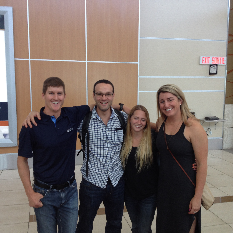 Matt, Mat, Bri and Vanessa at Edmonton Airport
