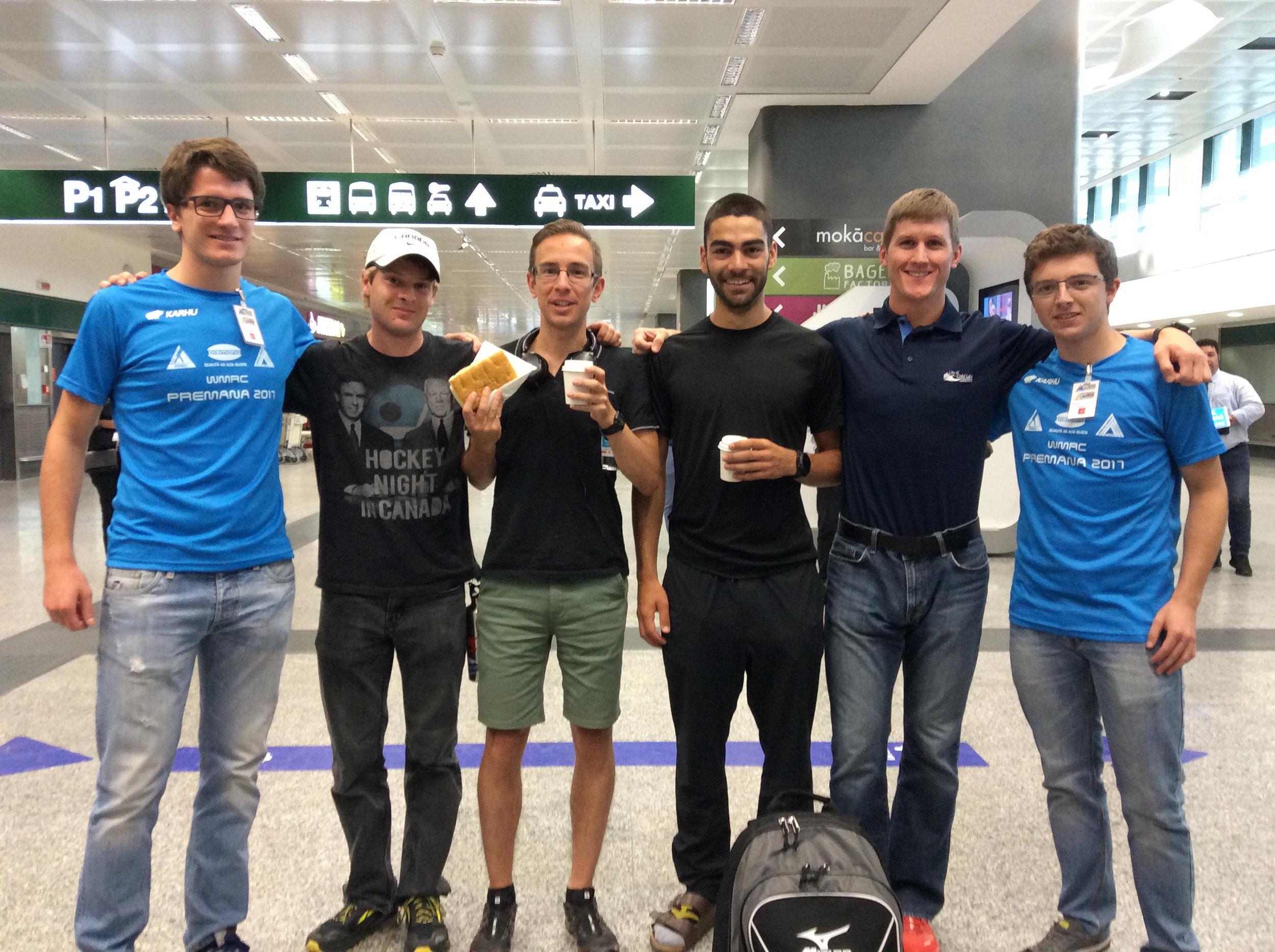 Mario, Gareth, Allan, MattT, MattS and Nicola at the Milan Malpensa Airport