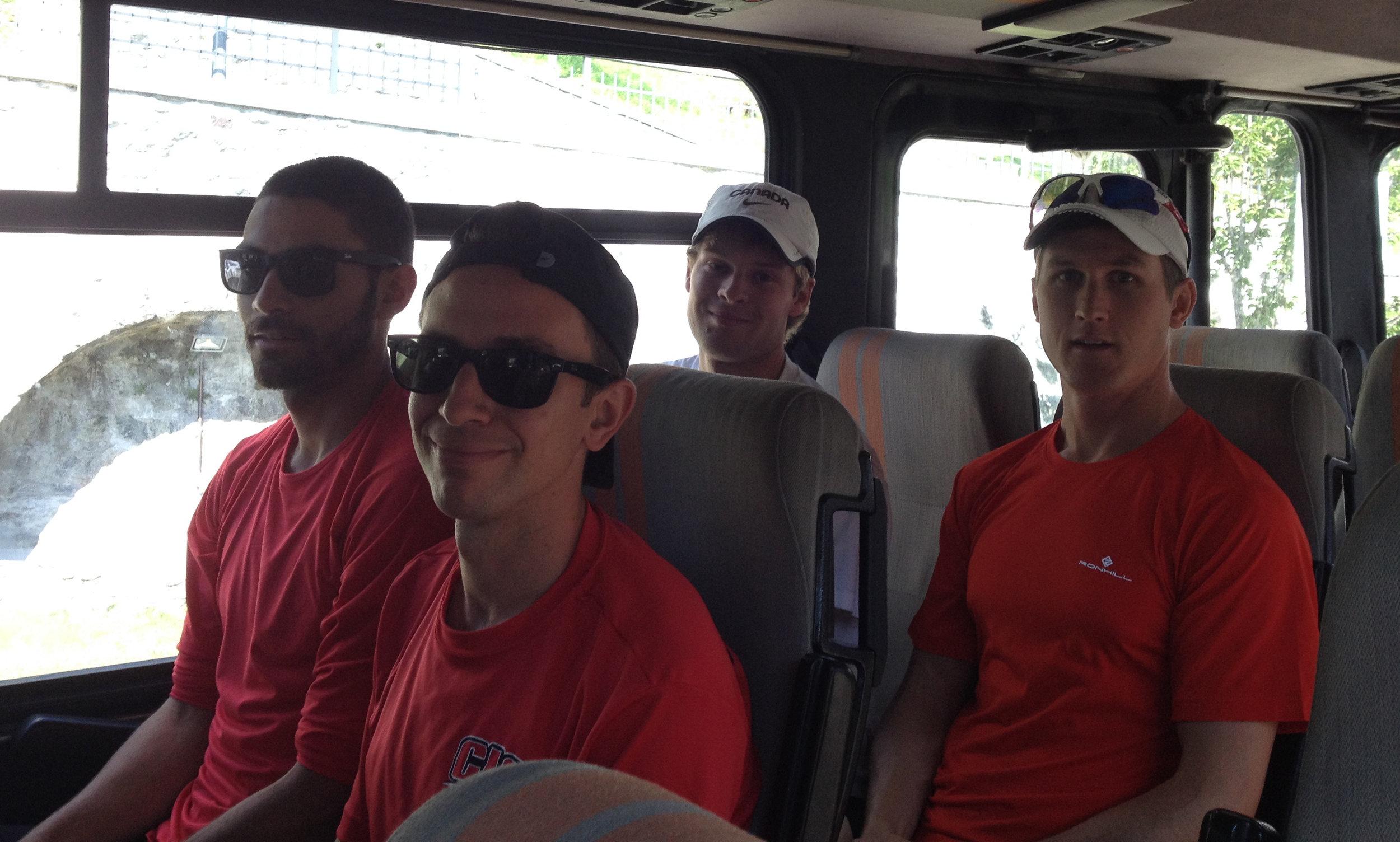 Taking the bus to the race start: Senior Men's Team -MattT, Allan, Gareth, MattS