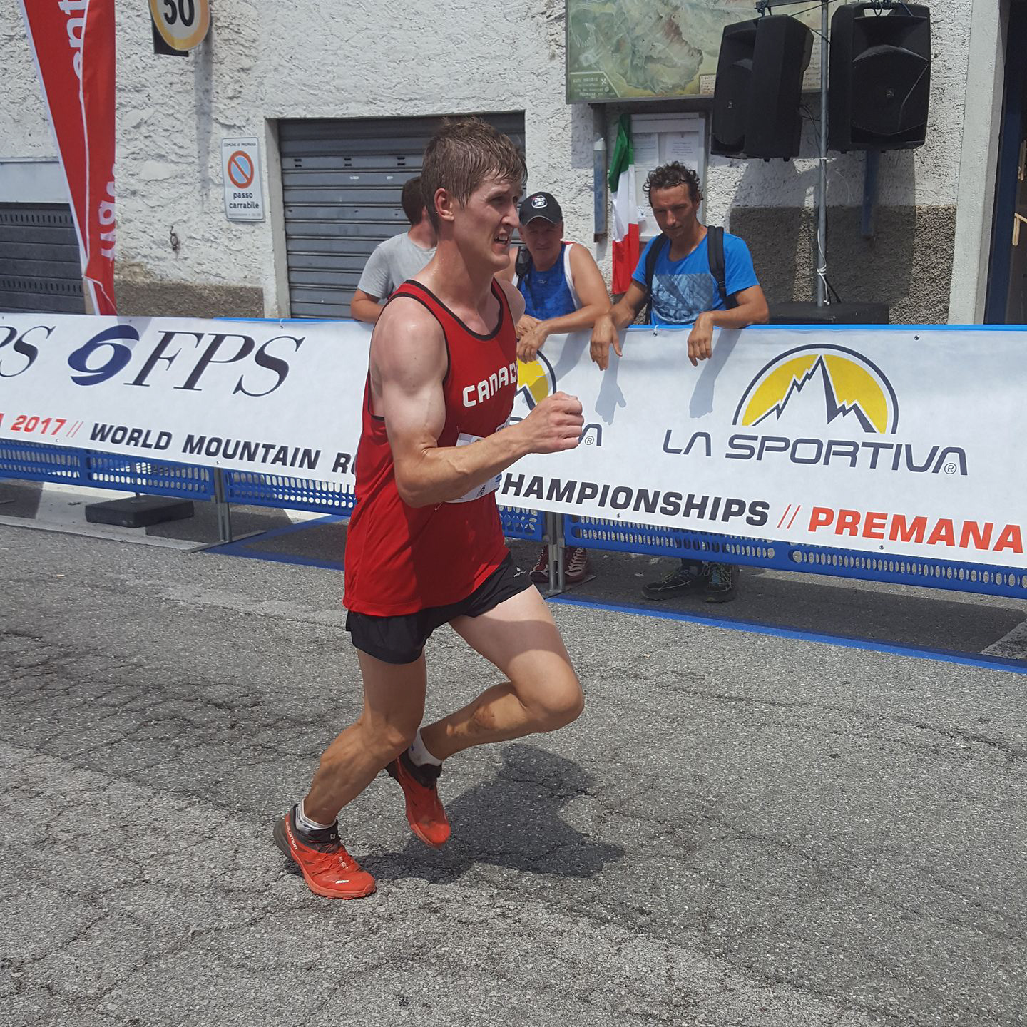 Matt Setlack at the finish of the World Mountain Running Championships in Premana, Italy