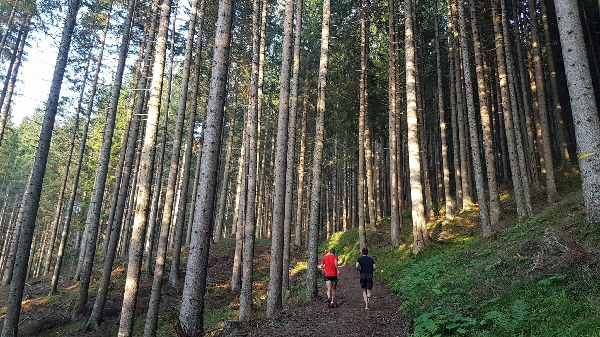 MattS and Adrian running through the forest near Nova Levante. Photo by MattT.