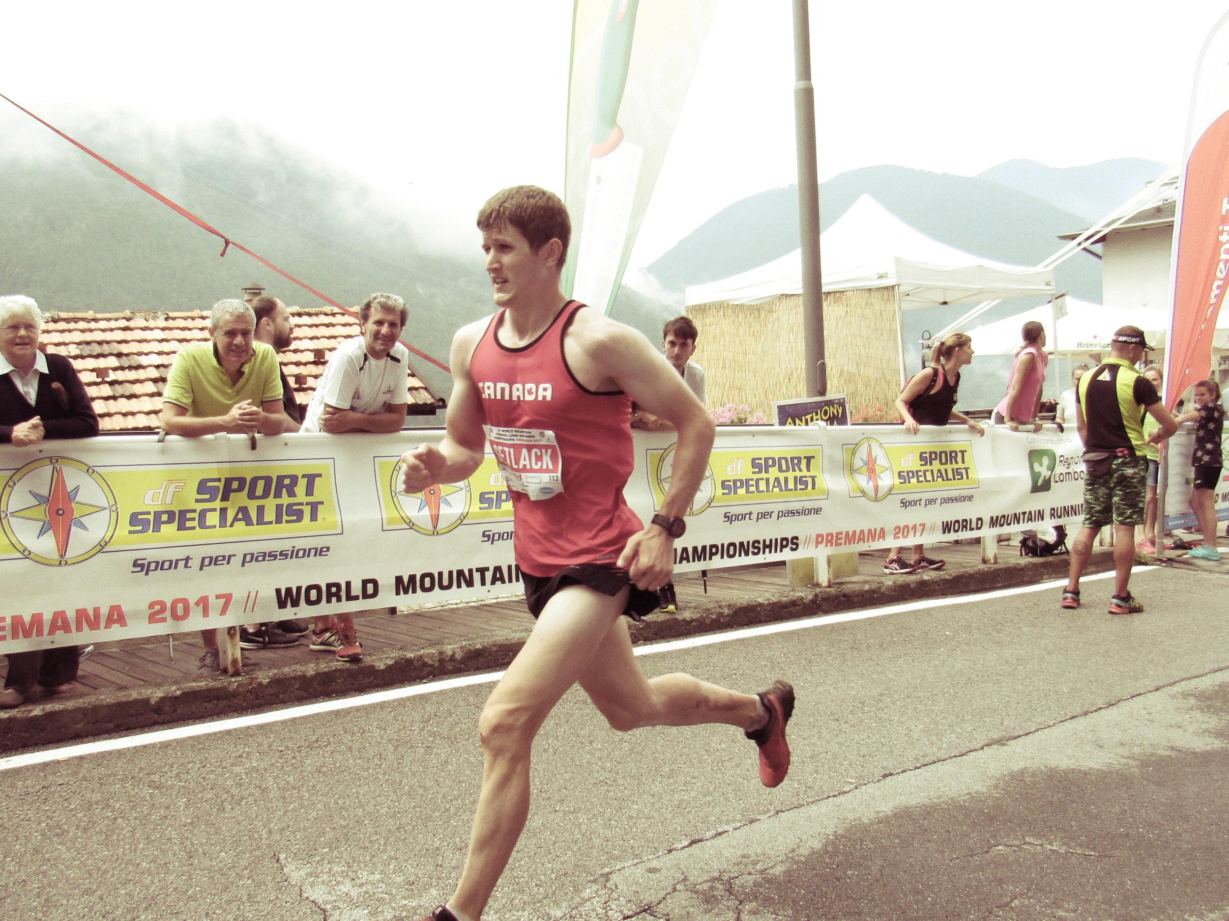 Matt Setlack finishing the Long Course World Mountain Running Championships (PC: Abigail Smith).