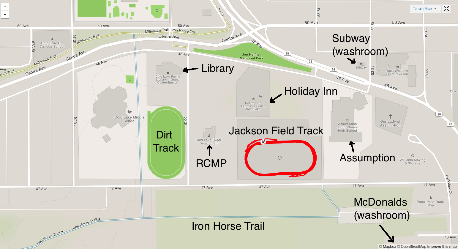 Location of Jackson Field Track (click to enlarge)