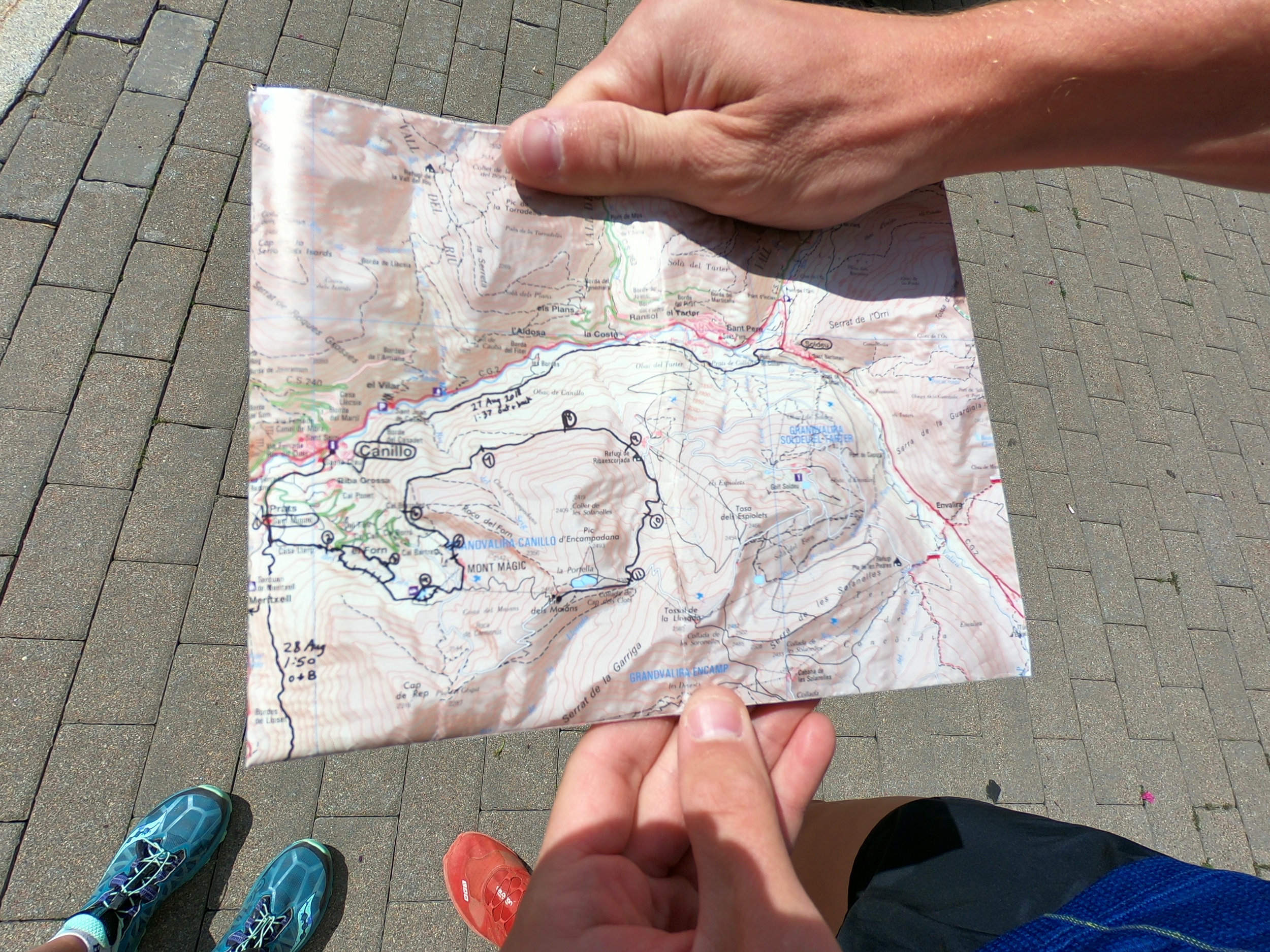 This is the topographical map (scale 1:40,000, which was not ideal) I used. In the future, I plan to use a GPS track and/or mobile phone with data to determine exactly where the course went the first time. Before the race course was officially marked, there were various sections that were not straightforward and without a GPS, would be extremely difficult to determine correctly.