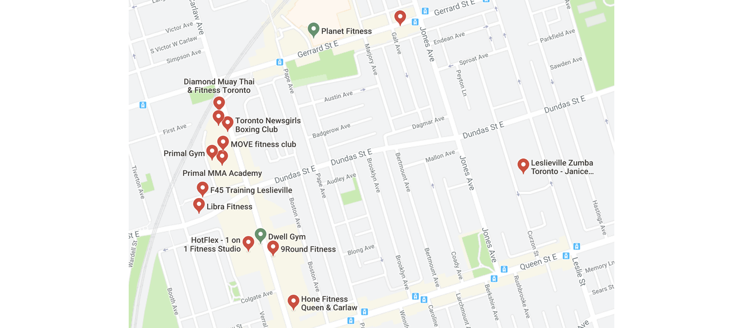 Leslieville fitness leslieville gym map workout.png