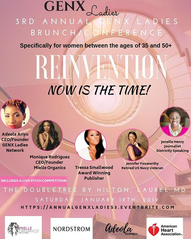 "2 more days for @genxladies brunch for multicultural women between the ages of 35 and 50.  Our theme this year is ""Reinvention- The Time is Now."" We're looking forward to an amazing day filled with power networking, speakers, panel sessions and giveaways.  Go to @genxladies to register or visit www.genxladies.com to learn more about us."