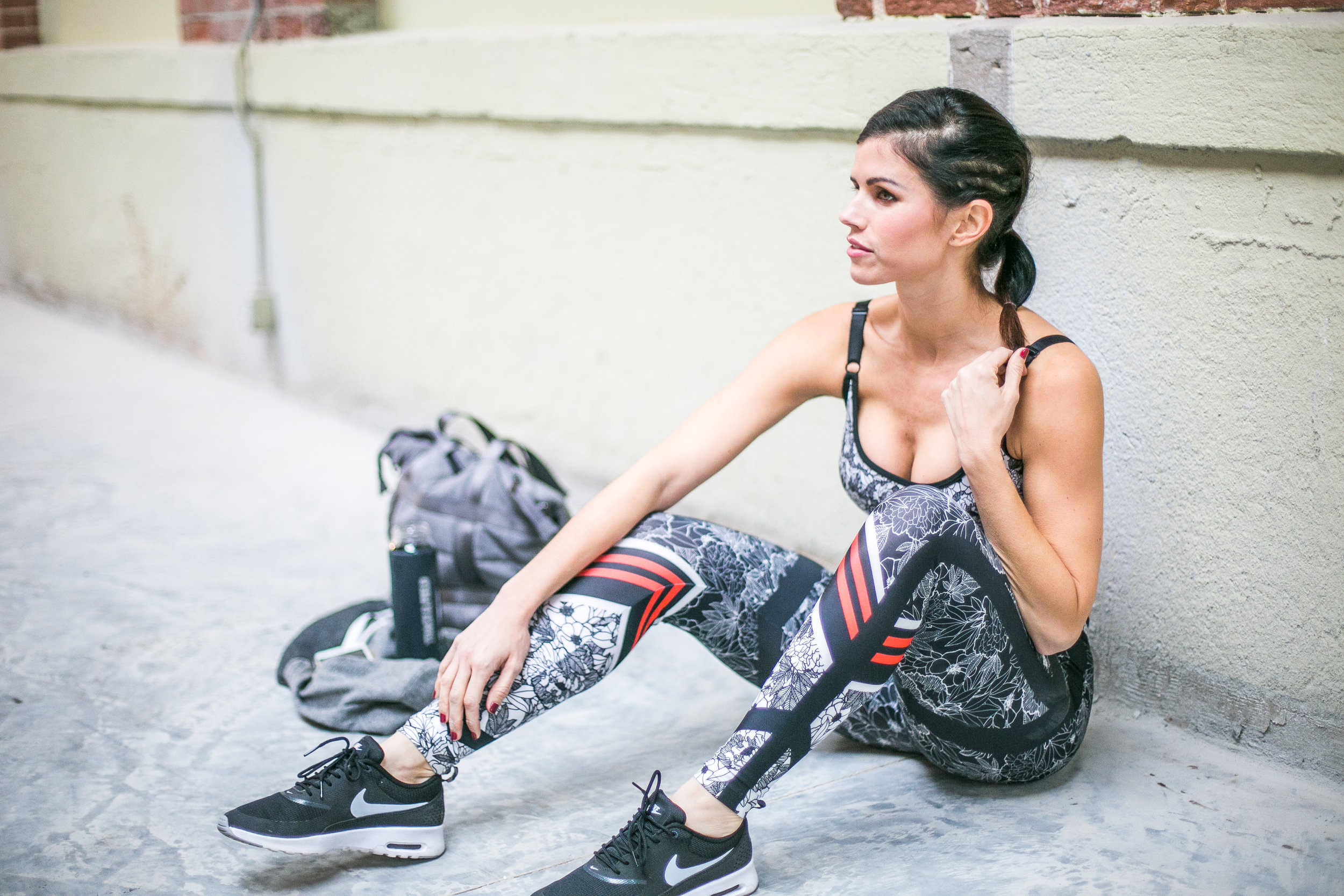 Track and field flower collection pants and sports bra