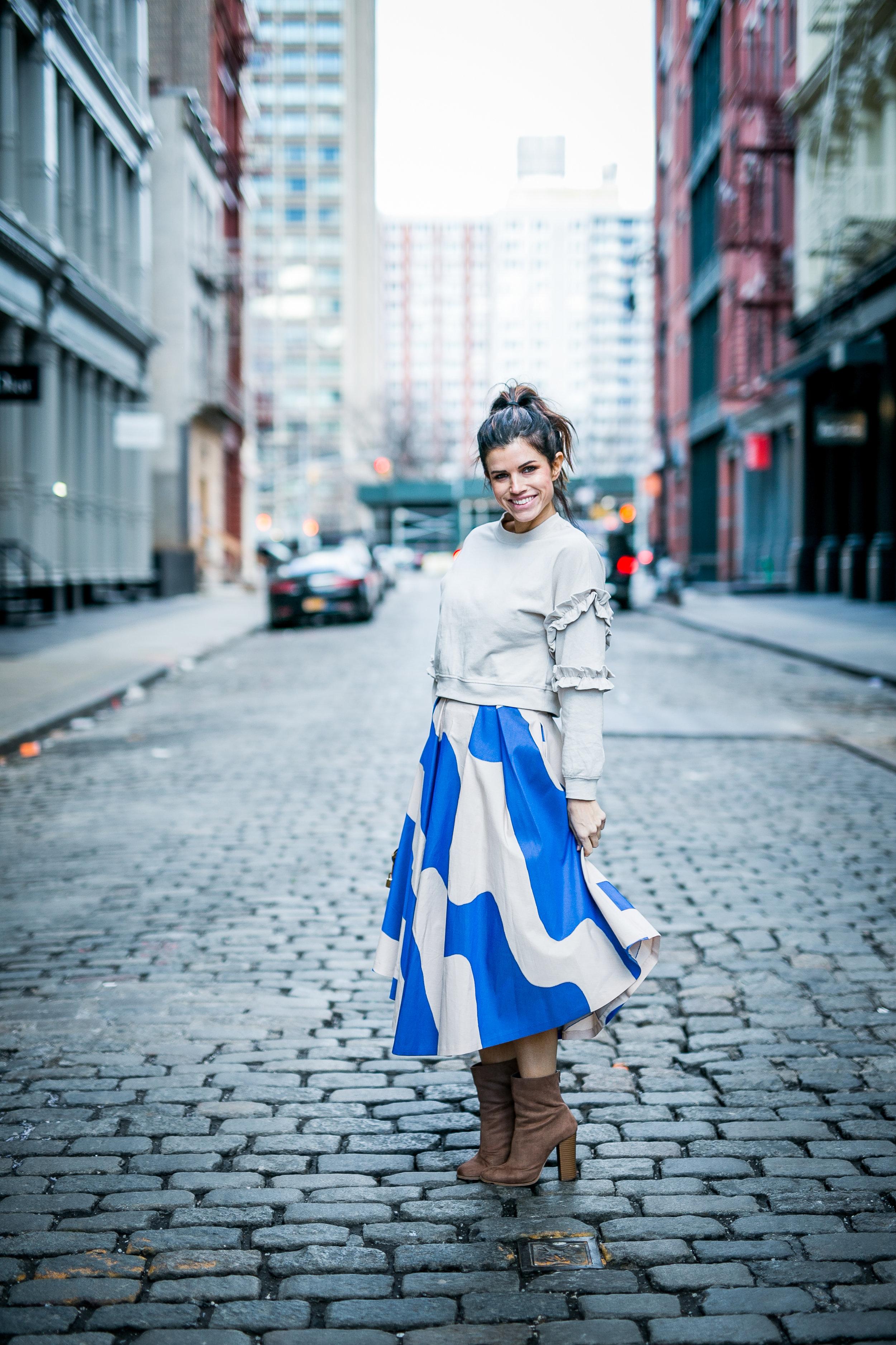 vestique + milly 3d floral mini skirt & h&m sweatshirt ruffle + vestique+  louis vuitton