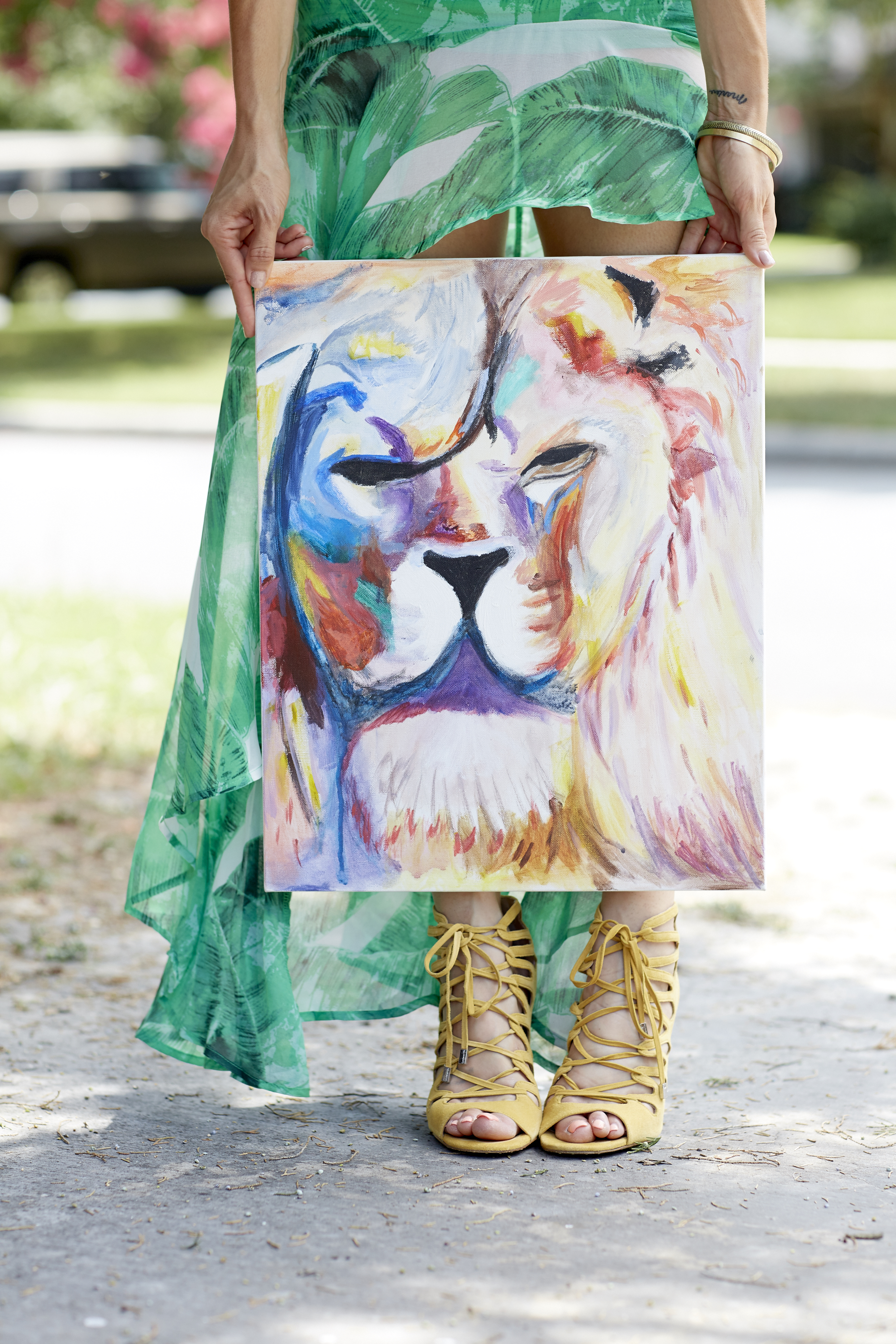 keep palm maxi skirt lion painting