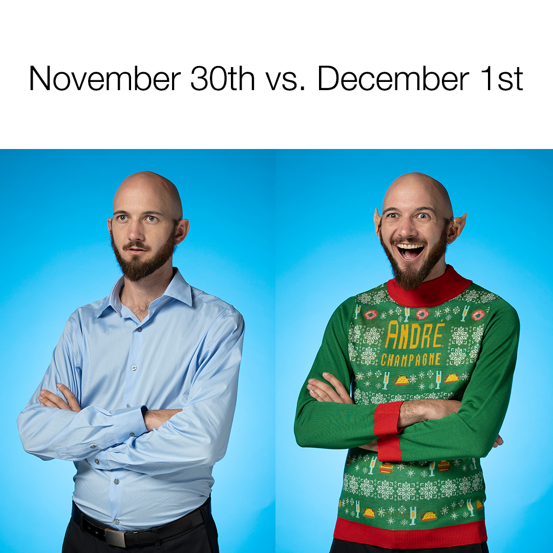 Caption: It's the most wonderful time of the year. ~*Celebrate*~ in the Champagne of Sweaters. Tag your elf friend.