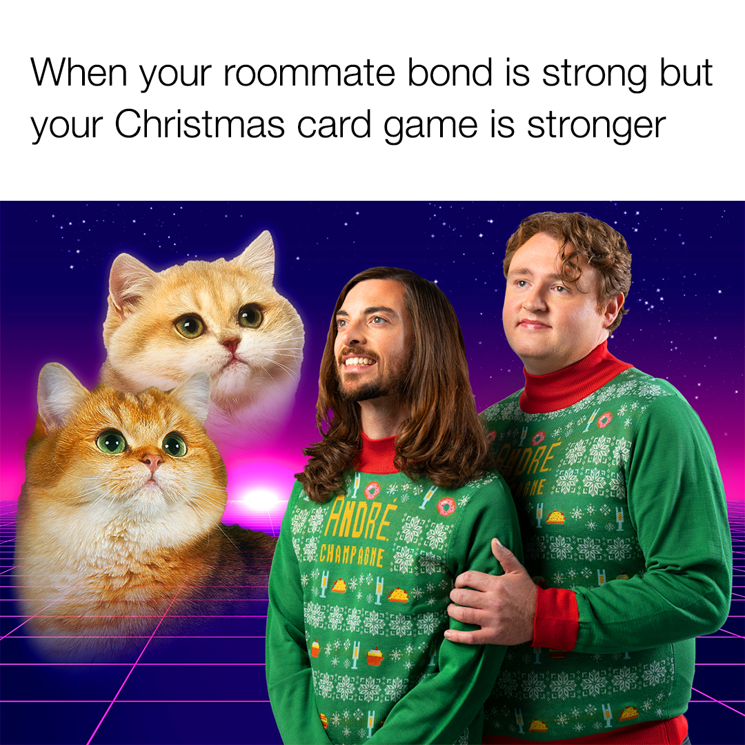 Caption: The André Holiday Sweater looks better in pairs. Tag your favorite roommate 👯♂️💕