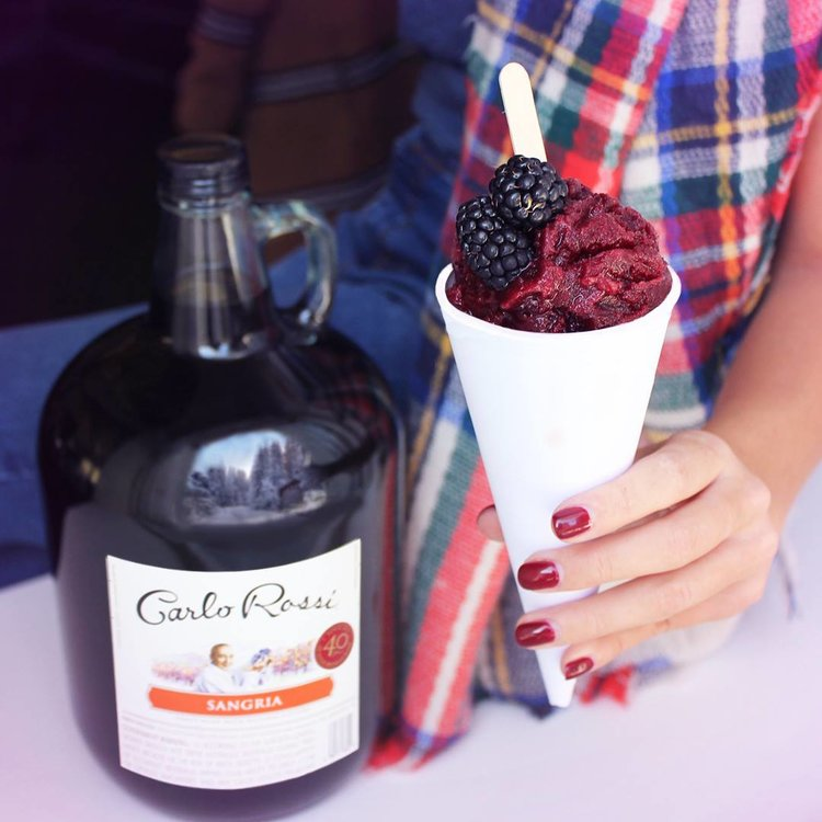 When life gives you snow, add wine. Sangria snow cones are officially a thing.    #RaiseYourRossi