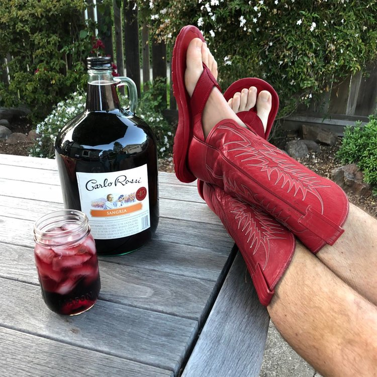 WHAT... ARE... THOSE? The boot sandal trend has not gone unnoticed at Carlo Rossi Innovation Labs. As self proclaimed fashionistas, you'll see us strutting around in these all summer with a jug of Rossi Sangria.    #WhatAreThose       #RossiBootSandals    #SangriaNation