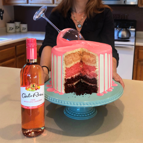You can't celebrate Rossi's Pink Moscato Sangria without cake. Pour it up!