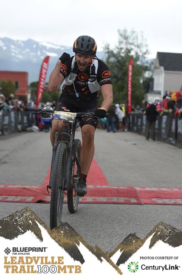 Josh Coming Across the Leadville MTB 100 Finish Line