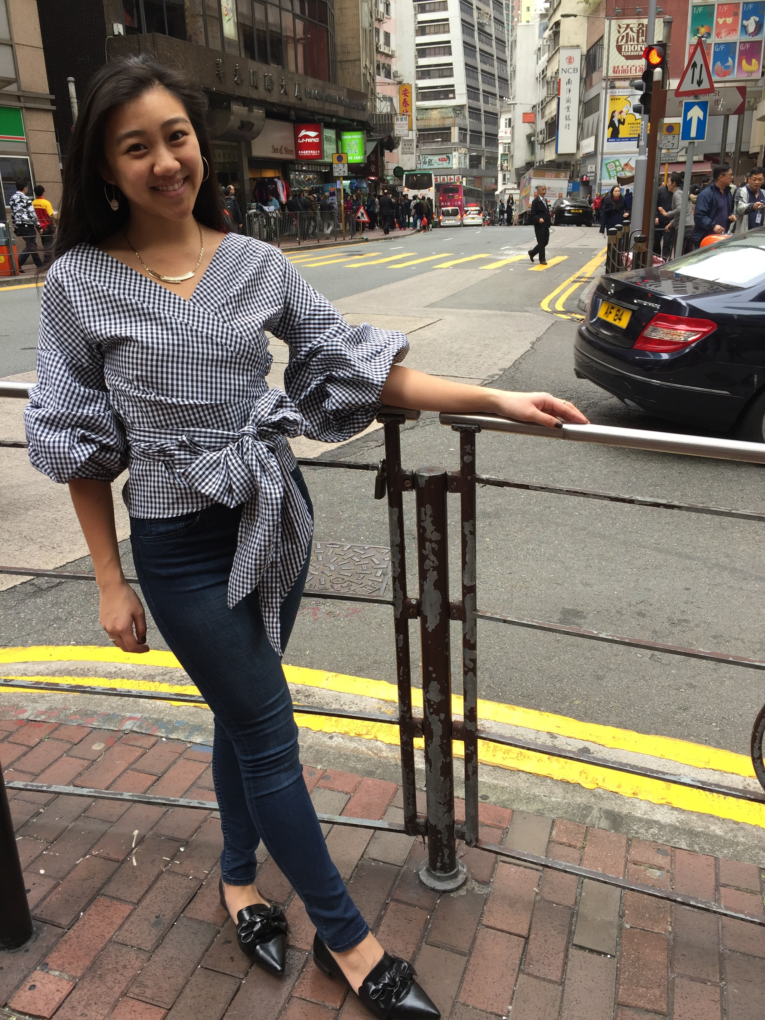 Hong Kong Central District   Gingham wrap top  from Chicwish
