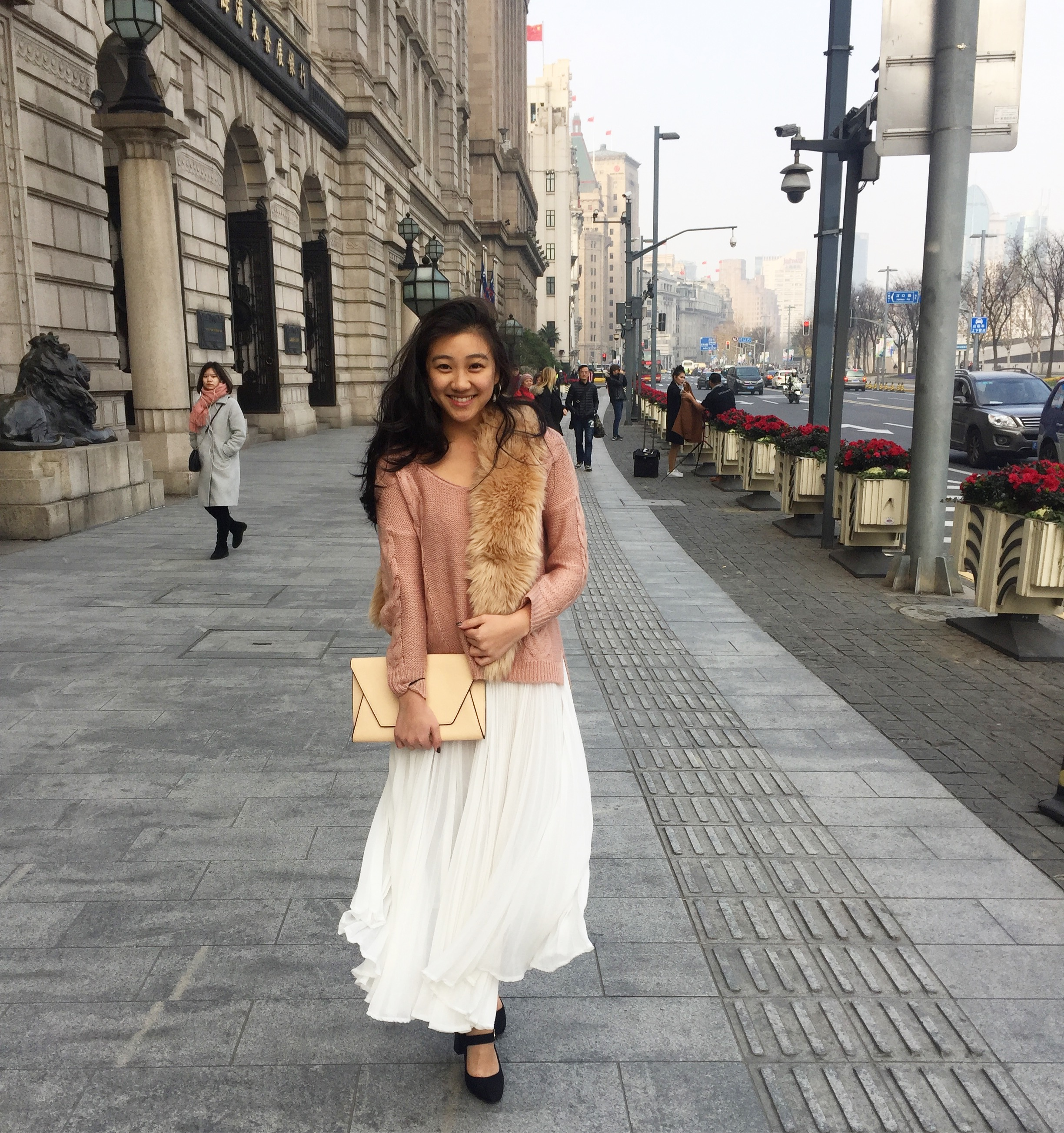 This outfit was vintage, but I linked a similar white pleated skirt from ASOS  here  and faux fur stole from Banana Republic  here