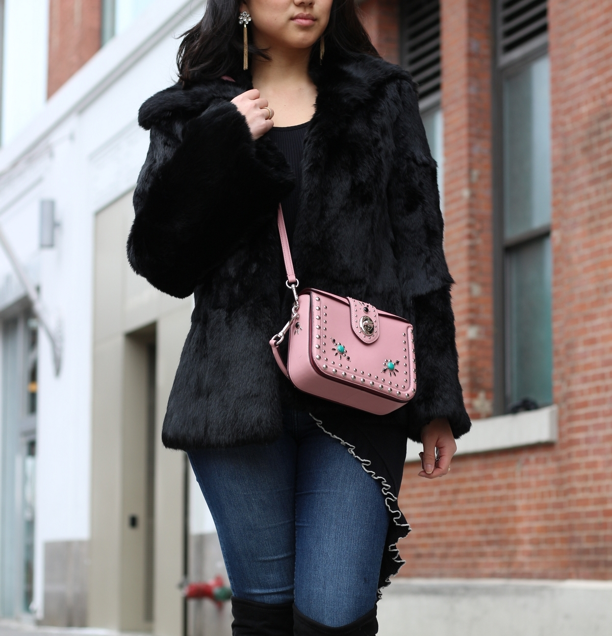 Coat: vintage but I've linked one  here  (and a more affordable version  here )   Bag:  Coach Page Crossbody    Jeans:  H&M