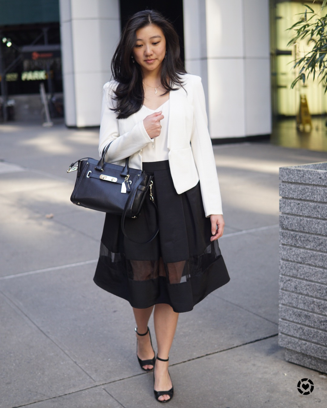 Bag:  Coach  | Blazer:  Express  | Skirt: sold out but I've linked similar ones  here  and  here