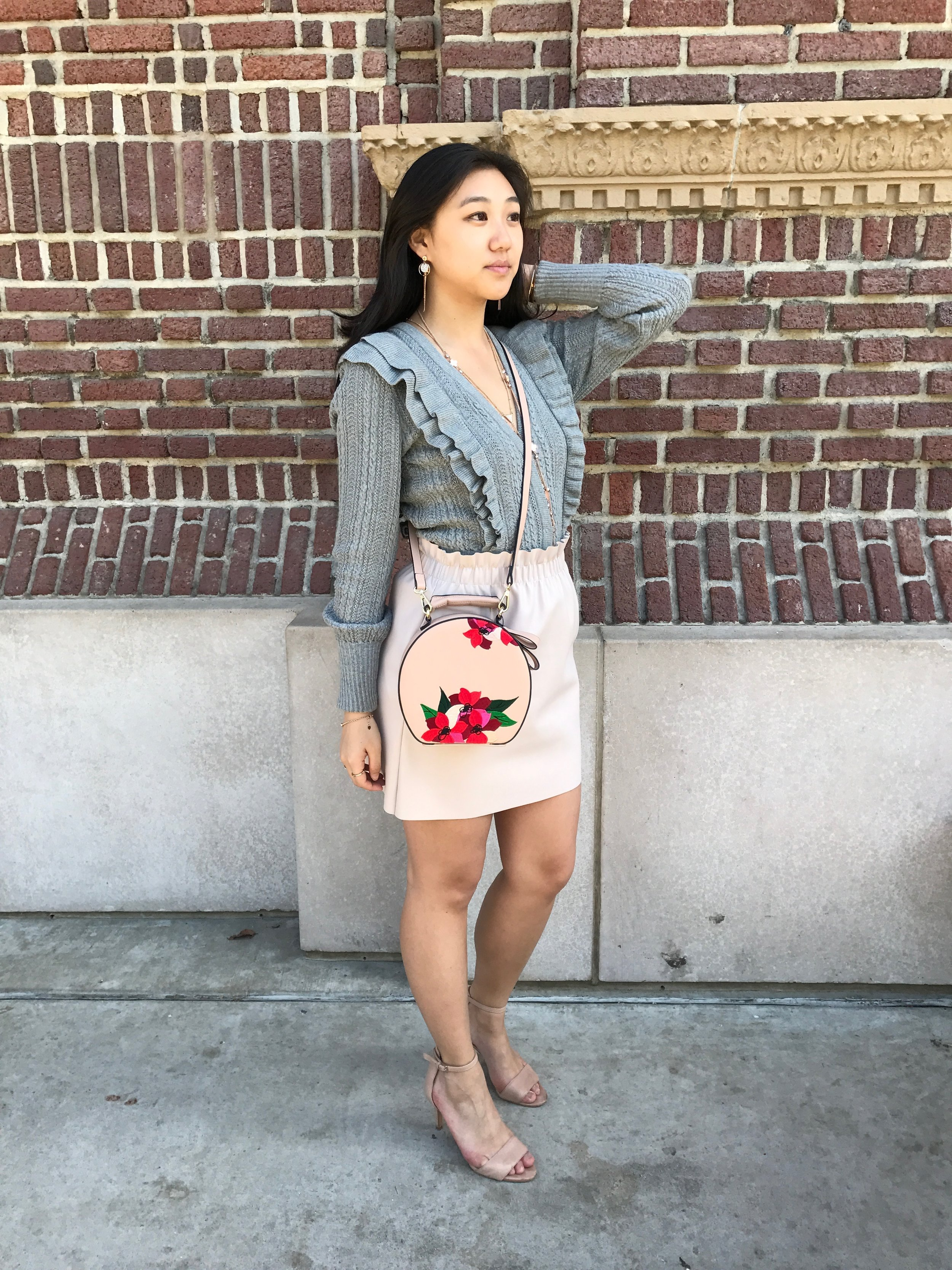 Cardigan:  H&M  | Black Skirt:  Lord & Taylor  | Pink Skirt: similar  here  and  here