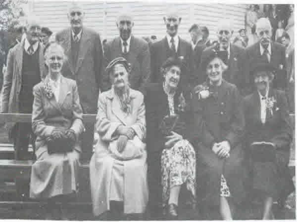 Oropi School's 50th Jubilee - Old identities at the Golden Jubilee.Back row from left; Mr E. Wasley, Mr S. Fleming, Mr J.K. Hamilton, Mr A. Mcphail, Mr J. Steward, Mr H.ThistlewaiteFront row; Mrs S. Fleming, Mrs Newton,Mrs J. Rogers, Mrs J. McKenzie, (Postmistress for many years), Mrs J. Gasson
